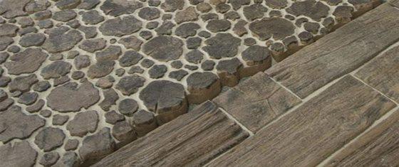Dlažba drevo a kameň